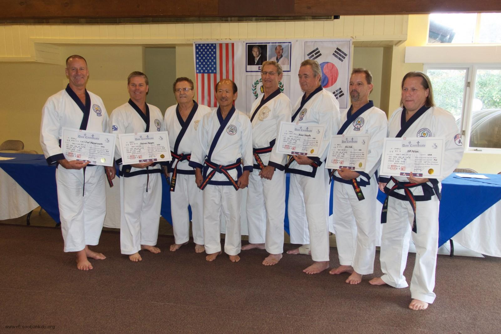 Moo Duk Kwan 8th Dans Receive Certificates